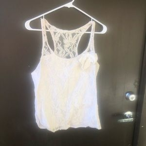 Hollister White Cream Lace Tank